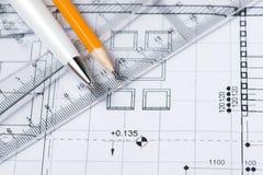 Parte del proyecto arquitectónico Herramientas para diseñar un nuevo hogar Foto de archivo