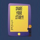 Parte del testo della scrittura la vostra storia Concetto che significa memoria di nostalgia di esperienza personale royalty illustrazione gratis