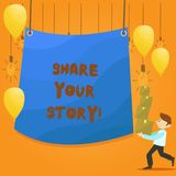 Parte del testo di scrittura di parola la vostra storia Concetto di affari per la memoria di nostalgia di esperienza personale illustrazione di stock