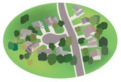 Parte del villaggio - via con le case - airview Illustrazione di Stock