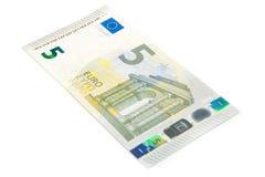 Parte delantera del nuevo billete de banco del euro cinco Foto de archivo libre de regalías