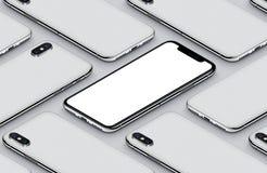 Parte delantera del smartphone de la perspectiva del modelo isométrico de la maqueta y cartel del blanco de los lados traseros Imagen de archivo
