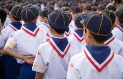 Parte dell'allineamento asiatico del gruppo di boy scout Immagine Stock Libera da Diritti