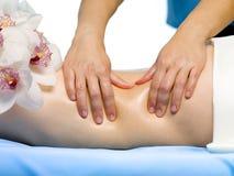 Parte dell'ente femminile con il massaggio Fotografie Stock Libere da Diritti