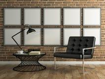 Parte dell'interno con il muro di mattoni e il renderin nero della poltrona 3D Fotografie Stock