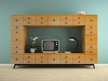 Parte dell'interno con la retro obbligazione e la rappresentazione della TV 3D Fotografia Stock Libera da Diritti