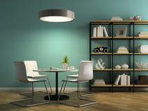 Parte dell'interno con le sedie bianche e 3D d'accantonamento che rendono 2 Fotografie Stock
