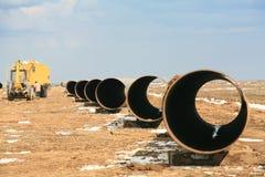 Parte dell'olio del tubo in steppa Kazakhstan Fotografie Stock