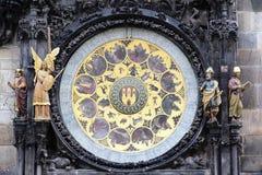 Parte dell'orologio zodiacale di Praga Fotografia Stock