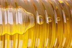 Parte della bottiglia dell'olio di girasole Fotografia Stock