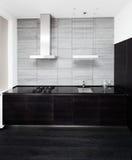 Parte della cucina moderna di stile di minimalism Fotografia Stock