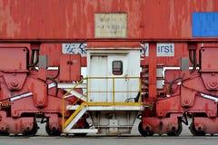 Parte della macchina nell'iarda di merci del contenitore Fotografie Stock Libere da Diritti