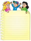 Parte della pagina in bianco con i bambini felici Fotografia Stock