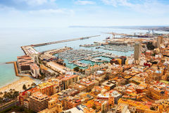 Parte della spiaggia di Alicante e di porto spain Fotografia Stock Libera da Diritti