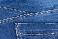 Parte della tasca delle blue jeans Fotografia Stock Libera da Diritti