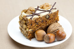 Parte della torta con le noci Fotografia Stock