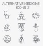 Parte 2 delle icone della medicina alternativa Immagine Stock Libera da Diritti