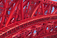 Parte di forte primo piano rosso del blocco per grafici del ponticello Immagini Stock