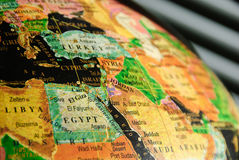 Parte di globo variopinto concentrata su Medio Oriente fotografia stock