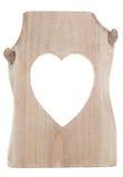 Parte di legno con il ritaglio di figura del cuore Immagine Stock