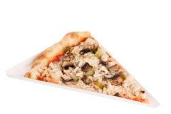 Parte di pizza italiana classica deliziosa con formaggio ed i funghi immagine stock libera da diritti