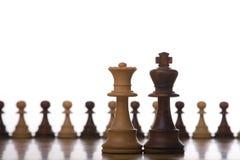 Parte di scacchi della regina e del re Fotografie Stock Libere da Diritti