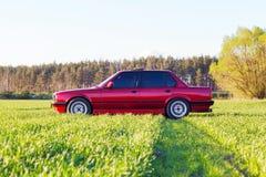 Parte di sinistra anteriore di vecchia automobile tedesca che sta su erba verde al tramonto fotografia stock