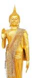 Parte di sinistra isolata statua di Buddha dell'oro Fotografia Stock Libera da Diritti