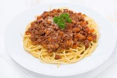 Parte di spaghetti bolognesi, vista superiore fotografia stock libera da diritti