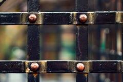 Parte di vecchio recinto - primo piano del ferro battuto Fotografie Stock Libere da Diritti