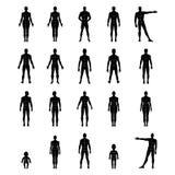 Parte dianteira completa do comprimento, grupo humano da silhueta da parte traseira com corpo marcado Fotografia de Stock Royalty Free