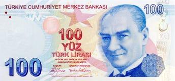Parte dianteira da cédula de 100 liras Imagem de Stock