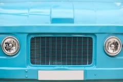 Parte dianteira da camionete da hippie Veículo retro do vintage Cor azul imagem de stock royalty free