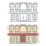 Parte dianteira da casa no estilo retro francês Imagens de Stock Royalty Free
