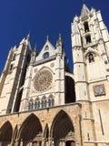 Parte dianteira da catedral de Leon Foto de Stock