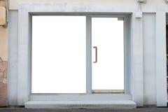 Parte dianteira da loja do boutique da loja com janela grande e lugar para o nome fotografia de stock royalty free