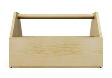 Parte dianteira de madeira da caixa de ferramentas em um fundo branco rendição 3d Imagens de Stock Royalty Free