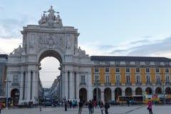 Parte dianteira de Rua Augusta Arch em Lisboa fotografia de stock royalty free