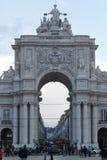 Parte dianteira de Rua Augusta Arch em Lisboa imagens de stock royalty free