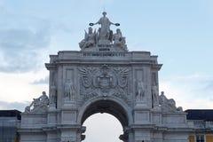 Parte dianteira de Rua Augusta Arch em Lisboa fotos de stock royalty free