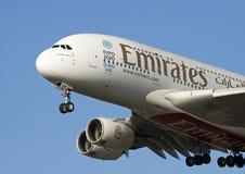 Parte dianteira de um Airbus A380 dos emirados Foto de Stock