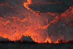 Parte dianteira de um fluxo de lava de superfície no lago da lava do th Fotografia de Stock Royalty Free