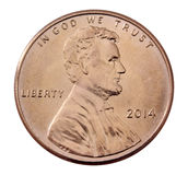 Parte dianteira de uma moeda de um centavo 2014 Foto de Stock