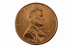 Parte dianteira de uma moeda de um centavo 2015 Fotografia de Stock