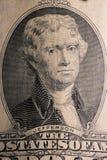 A parte dianteira de uma nota de dólar dois, foto de stock
