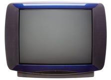 Parte dianteira do aparelho de televisão do CRT do vintage isolada no branco Fotografia de Stock