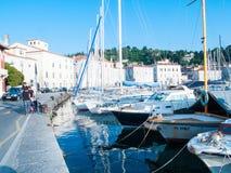 Parte dianteira do mar, Piran, Eslovênia, Europa Fotografia de Stock Royalty Free
