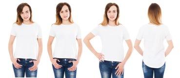 Parte dianteira do t-shirt da mulher e vistas traseiras isoladas no fundo branco fotos de stock royalty free