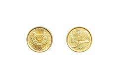 A parte dianteira e a parte traseira de Singapura inventam o centavo 5 imagem de stock royalty free