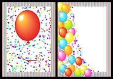 Parte dianteira e parte traseira do cartão do feliz aniversario Imagens de Stock Royalty Free